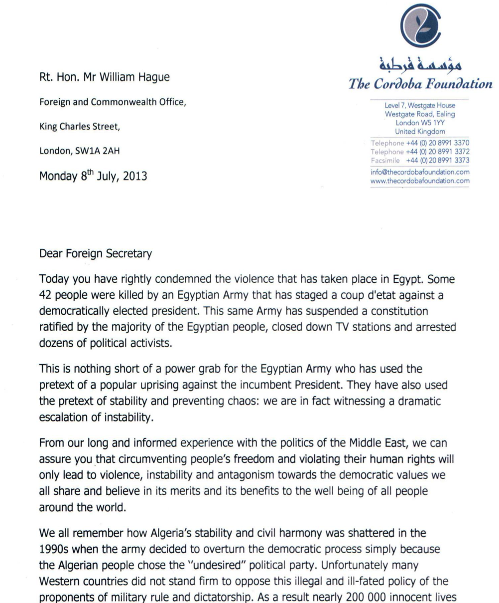 The Cordoba Foundation writes to the US Secretary of State and UK Foreign Secretary regarding Egypt