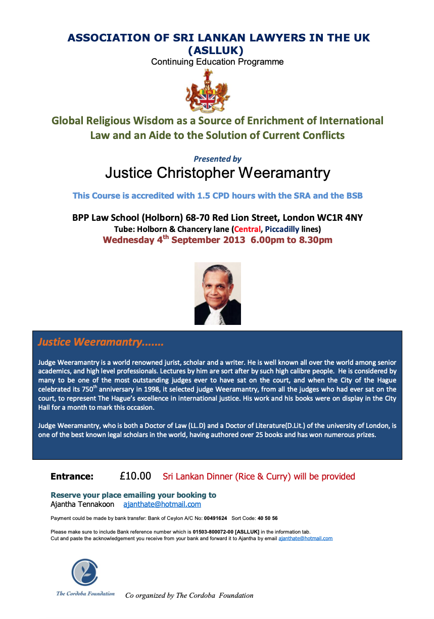 Lecture: Global Religious Wisdom, International Law and Conflict