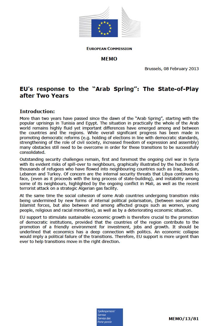 Report: EU's response to the Arab Spring: The State-of-Play after Two Years