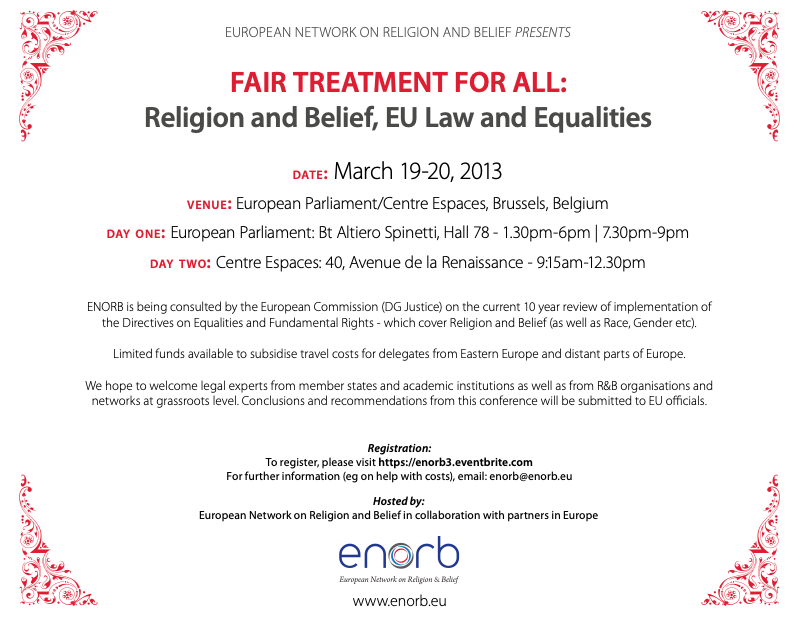 Roundtable (Europe): Fair Treatment for all – Religion and Belief, EU Law and Equalities