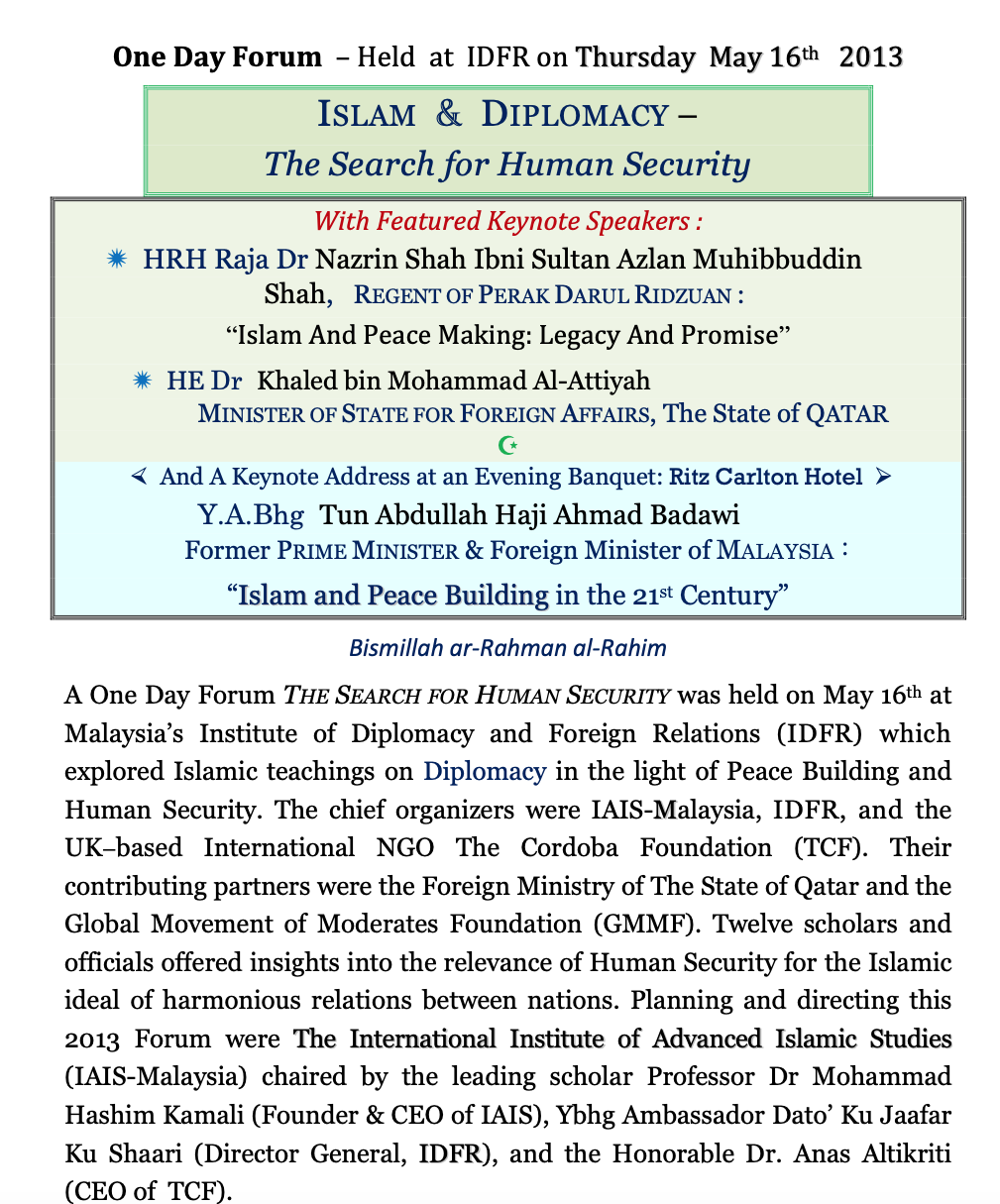 Event Report: Islam & Democracy – The Search for Human Security