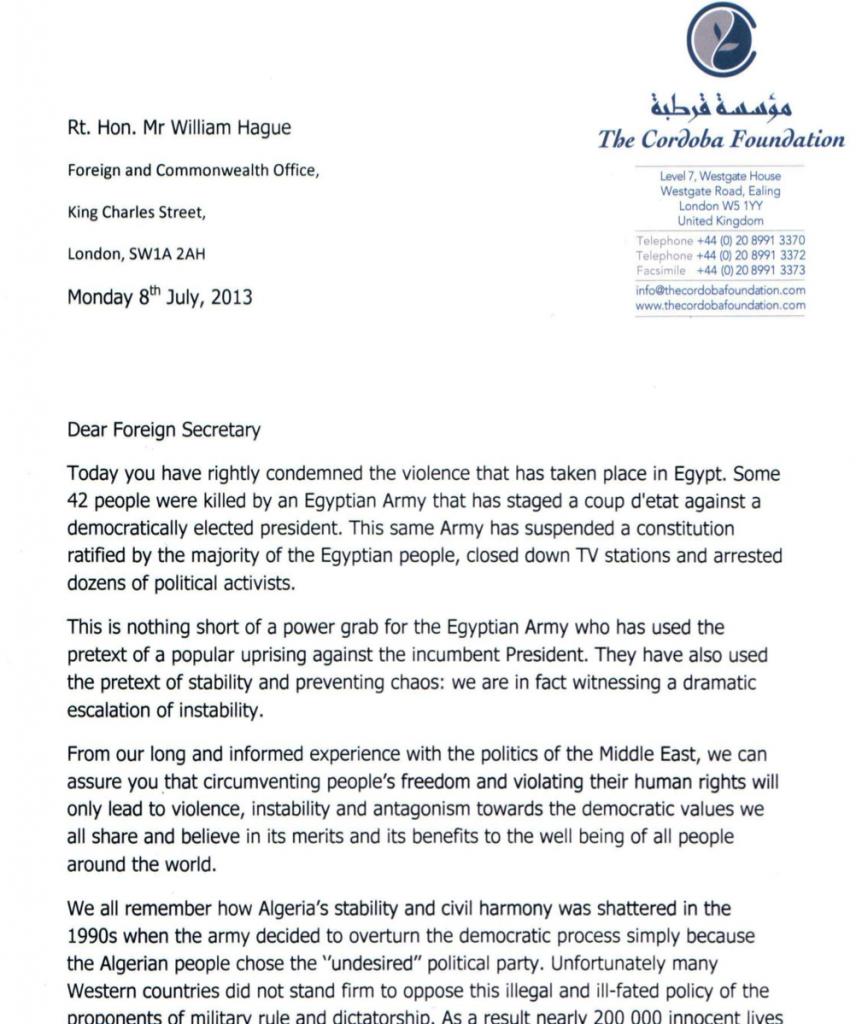 The Cordoba Foundation writes to the US Secretary of State and UK Foreign Secretary regarding Egypt