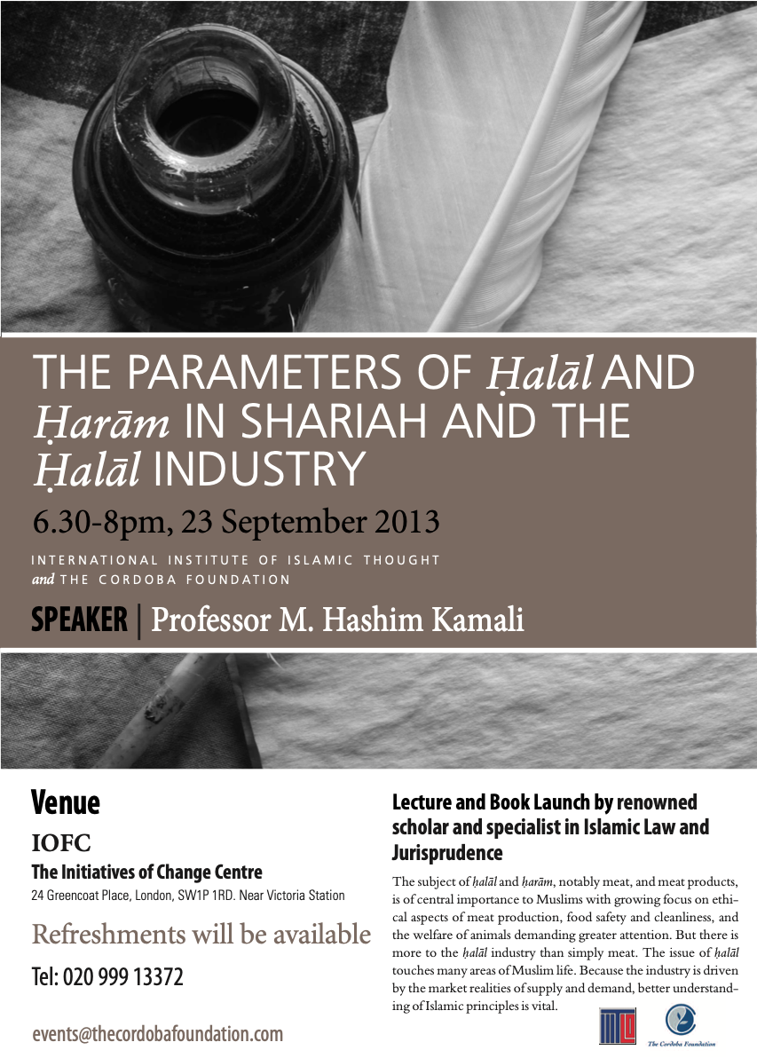 Book Launch: The Parameters of Halal and Haram in Shari'ah and the Halal Industry
