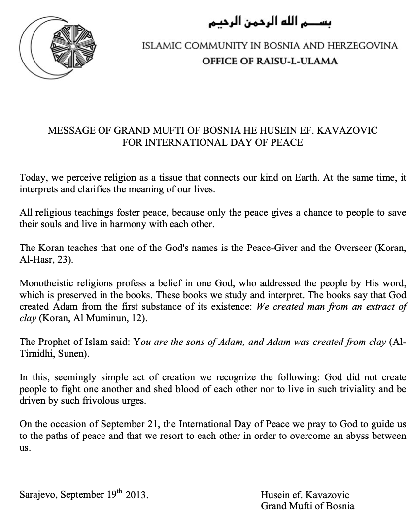 Message from the Grand Mufti of Bosnia to mark the International Day of Peace