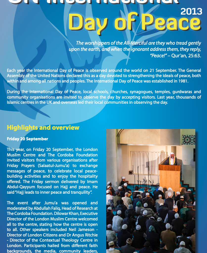 Press Release: Embracing the International Day of Peace