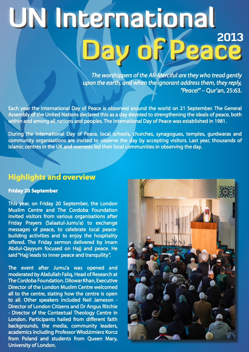 Event Report – UN Day of Peace 2013
