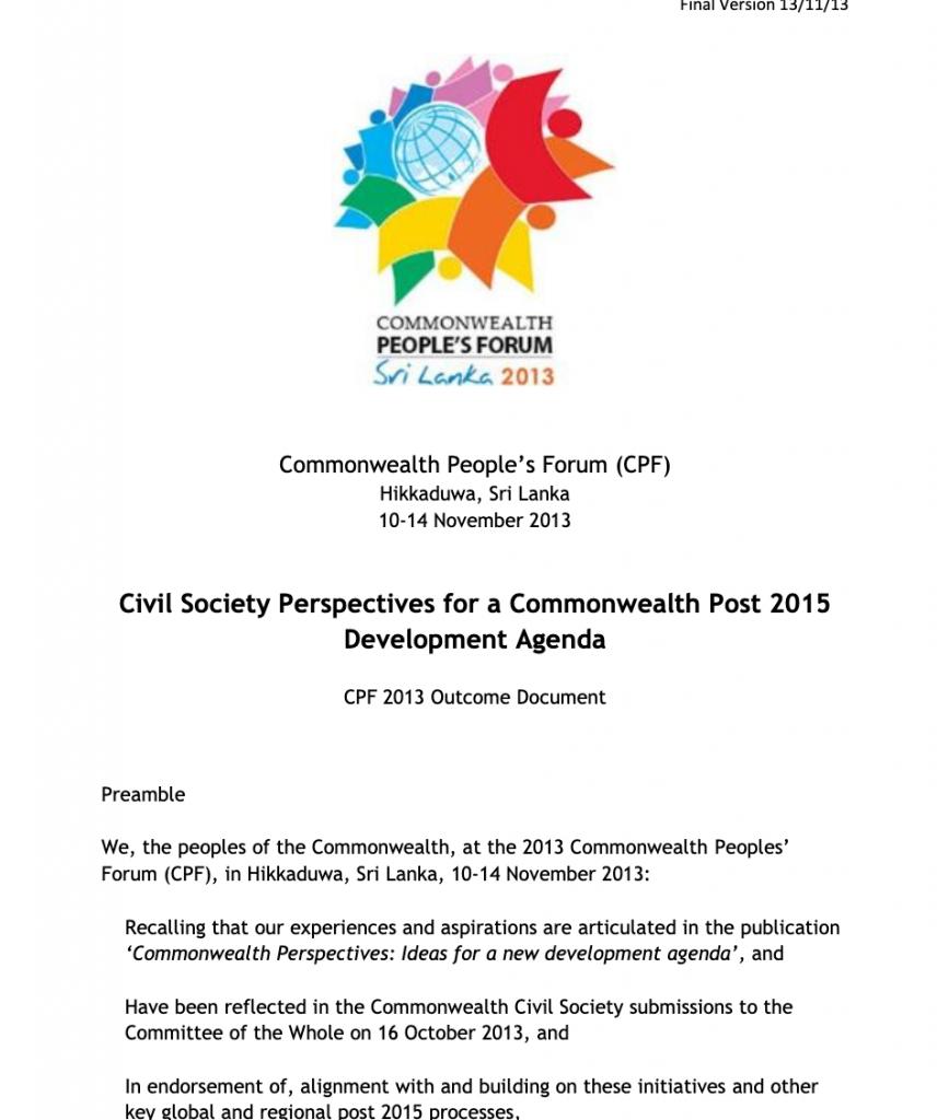 Commonwealth People's Forum 2013 Declaration