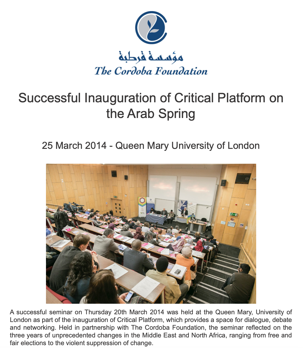 Event Report – Critical Platform: The Arab Spring – Three Years On