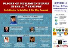 Malaysia Forum: Plight of Muslims in Myanmar in the 21st Century: An Initiative for Solution and the Way Forward